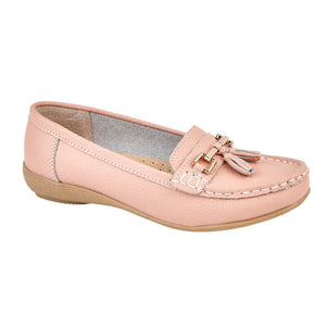 Jo & Joe Nautical Baby Pink Womens Slip On Leather Loafers Moccasin Casual Shoes