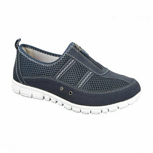 Boulevard L430C Womens Extra Wide Fitting EEE Casual Comfy Leather Shoes Navy