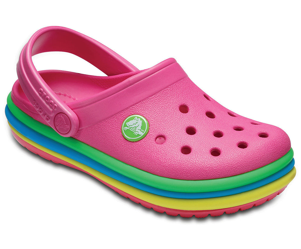 Crocs Crocband Rainbow Band Clogs Kids Childrens Clog Shoes Summer Casual Pink