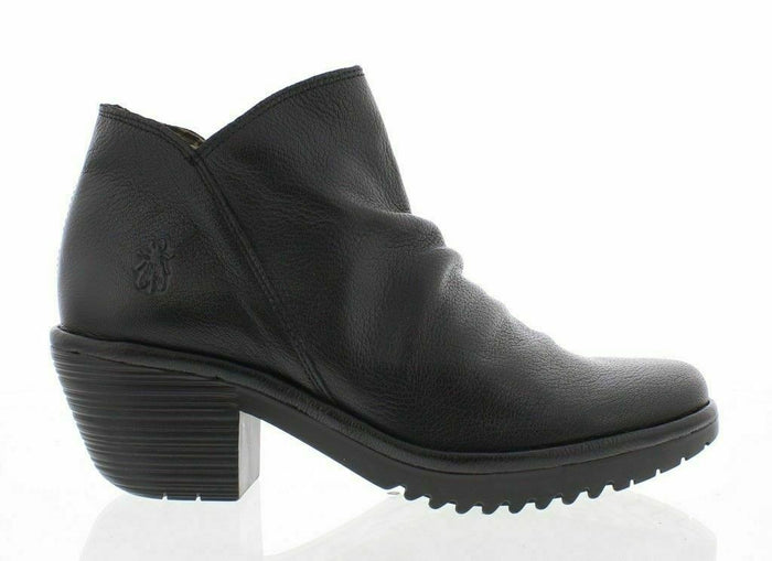 Fly London WEZO890FLY Black Womens Real Leather Slouchy Ankle Boots Heel Zip