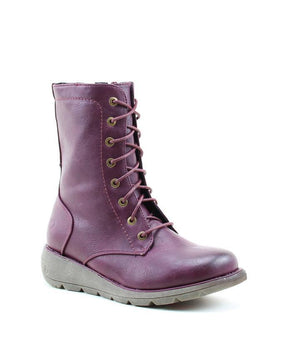 Heavenly Feet Walker2 Berry Women's Casual Lace Up Wedge Boots