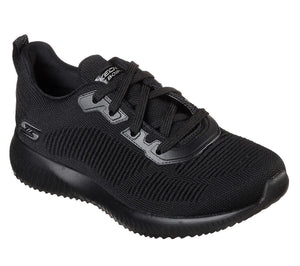 Skechers 32504/BBK Black BOBS Womens Lace Up Memory Foam Stylish Gym Trainers