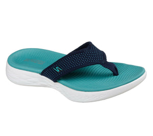 Skechers 15300 Navy Turquoise Women's On The Go 600 Comfort Flexible Flip Flops