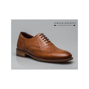 London Brogues Gatsby Tan Men's Real Leather Smart Shoes (up to UK 15)