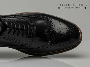London Brogues Gatsby Black Polished Men's Real Leather Smart Shoes