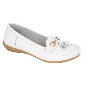 Jo & Joe Womens Nautical Slip On Leather Loafers Moccasins Casual Shoes White