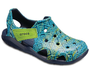 Crocs Swiftwater Wave Graphic Kids Girls Casual Clog Shoes Pattern Navy Blue
