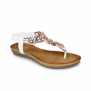 Lunar Antigua Womens Interwoven Leather Summer Sandals Gold Chain Toe Post White