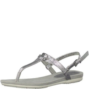 Marco Tozzi 2-28122-20 933 Silver Metallic Womens Toe Post Leather Sandals T-Bar