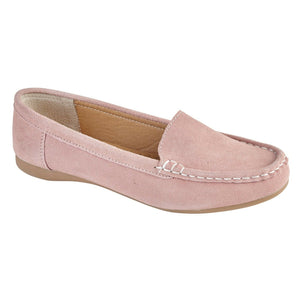 Jo & Joe Mykonos Blush Womens Slip On Real Suede Leather Casual Loafers Moccasins Shoes