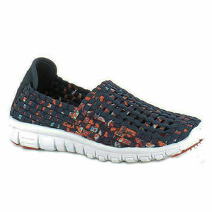 Heavenly Feet Lizzy Womens Slip On Woven Sandals Shoes Memory Foam Navy Multi