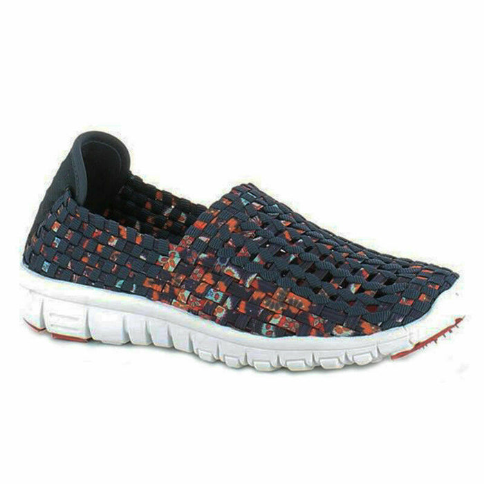 Heavenly Feet Lizzy Navy Multi Womens Woven Slip On Lightweight Comfy Shoes