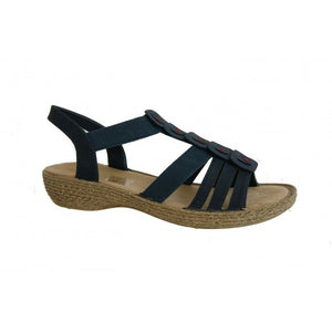 Rieker 65849-14 Women's Slingback Navy Sandals Elasticated Straps Cushioned