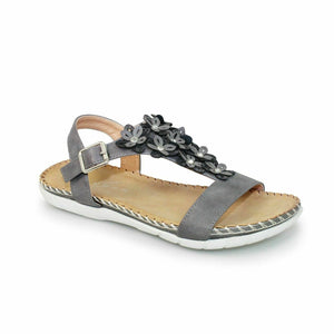 Lunar Temple JLY064 Grey Women's Flower Padded Insole Ankle Strap Buckle Sandals