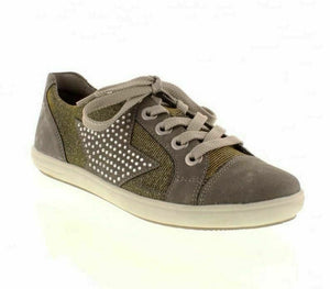 Remonte D9105-42 Womens Lace Up Comfy Stylish Trainers Shoes Studded Star Grey