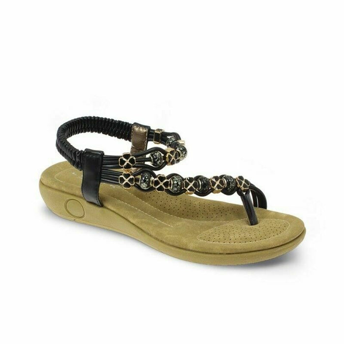 Lunar Ladies Essence JLH880 Womens Summer Toe Post Comfortable Sandals Black