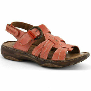 Josef Seibel Debra 15 Womens Real Leather Sandals Buckle Hook and Loop Coral