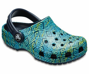 Crocs Classic Graphic Clog Kids Boys Girls Casual Comfy Slip On Printed Navy