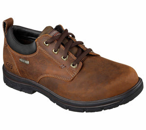 Skechers 64517 Men's Waterproof Real Leather Shoes Brown Relaxed Fit Memory Foam