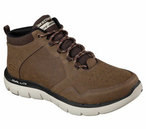 Skechers 52187 Chocolate Men's Casual Lace Up Leather Trainers Boots