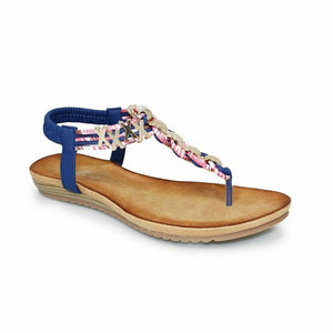 Lunar Antigua Womens Interwoven Leather Summer Sandals Gold Chain Toe Post Blue