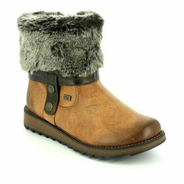 9f09ae77165 Remonte D8874-24 Womens Ankle Boots Faux Fur Trim Waterproof Zip Up Brown