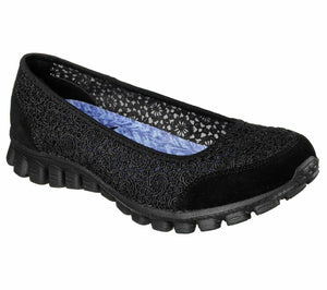 Skechers 22836 Womens Slip On Ballet Flats Casual Memory Foam Comfy Black