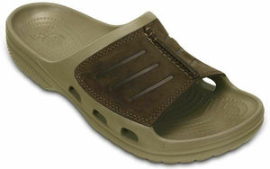 Crocs Yukon Mesa Slide Khaki/Espresso Men's Leather Upper Slip On Sandals Slide