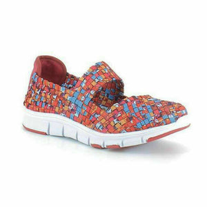 Heavenly Feet Lollipop Womens Woven Slip On Sandals Shoes Memory Foam Red Multi