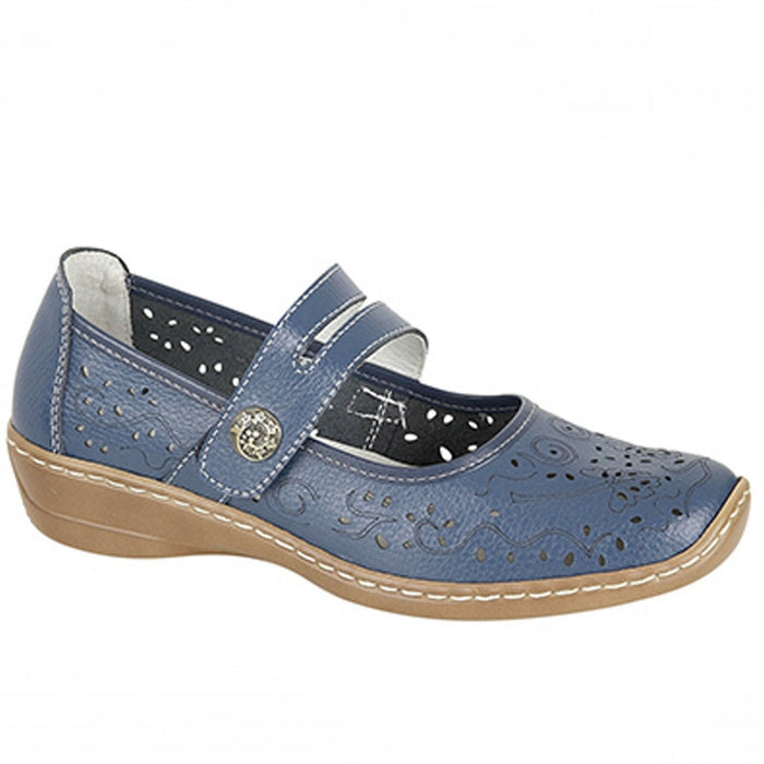 Boulevard L394CX Navy Womens Touch Fastening Casual Comfy Real Leather Shoes