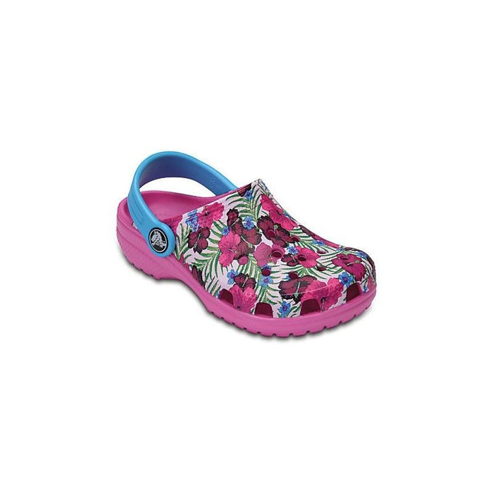 Crocs Kids Girls Childrens Classic Multi Pink Graphic Slip On Clogs Shoes