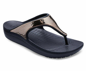 Crocs Sloane Hammered Womens Toe Post Metallic Flip Flops Sandal Black Rose Gold