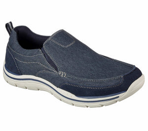 Skechers 64928 Navy Mens Canvas Memory Foam Slip On Shoes