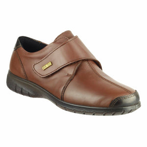 Cotswold  Cranham Bronze Women's waterproof leather touch fastening wide flat shoe