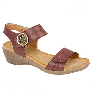 Boulevard L9525C Womens Twin Touch Fastening Casual Summer Sandals Burgundy