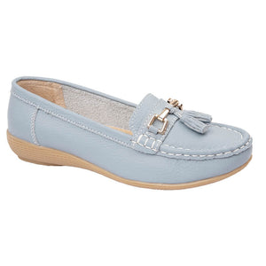 Jo & Joe Womens Nautical Slip On Leather Loafers Moccasin Casual Shoes Baby Blue