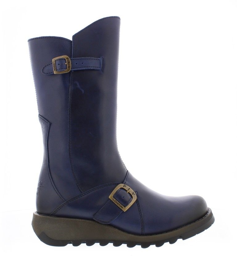 5e93038c673 Fly London Mes 2 Blue Womens Real Leather Calf Boots Stylish Zip Low Wedge