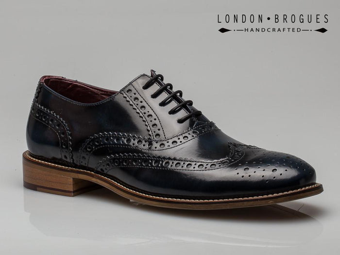 London Brogues Gatsby Navy Polished Men's Real Leather Smart Shoes