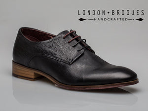 London Brogues Wister Derby Mens Formal Smart Black Leather Lace Up Work Shoes