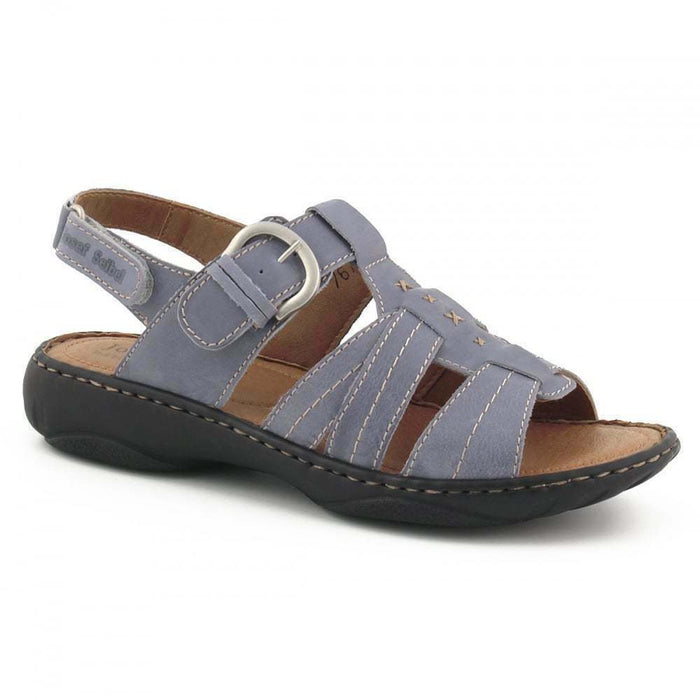 Josef Seibel Debra 15 Womens Real Leather Sandals Buckle Hook and Loop Azur Blue