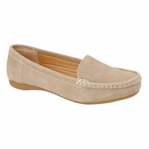 Jo & Joe Mykonos Taupe Womens Slip On Suede Leather Casual Loafers Moccasins Shoes