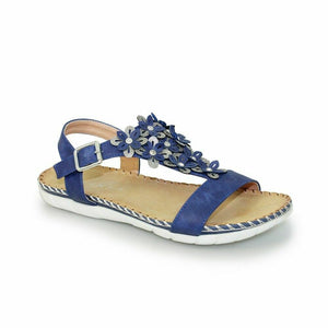 Lunar Temple JLY064 Blue Women's Flower Padded Insole Ankle Strap Buckle Sandals