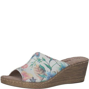 Jana 8-27210-20 Womens Clog Wedge Slip on Mule Leather White Multi Floral H Fit