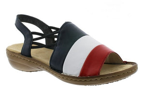 Rieker 608S3-33 Navy Womens Casual Comfort Leather Slingback Sandals