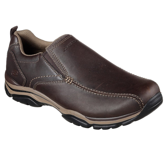 Skechers 65415 DKBR Dark Brown Men's Leather Slip On Casual Shoes