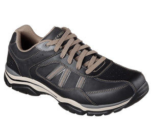 Skechers 65418EWW BKTP Black Taupe Men's Lace Up Leather Casual Trainers