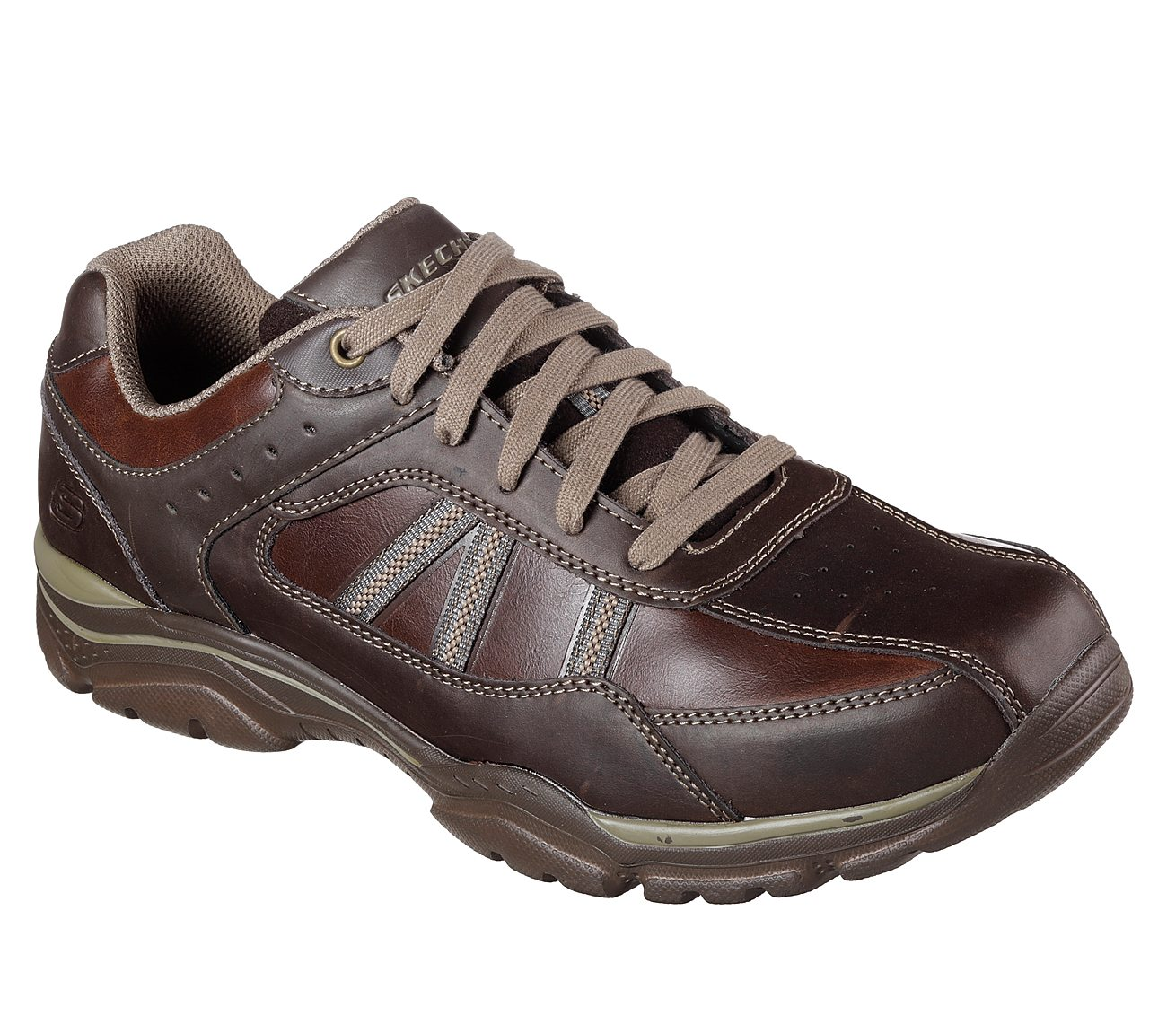 skechers mens brown leather trainers