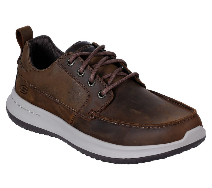 Skechers 65869 CDB Brown Men's Leather Upper Lace Up Casual Shoes