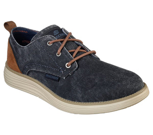 Skechers 65910/NVY Navy Men's Canvas and Suede Lace Up Casual Shoes