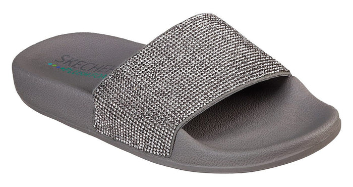 Skechers 32369/PEW Pewter Womens Slip On Rindstone Glittery Sliders